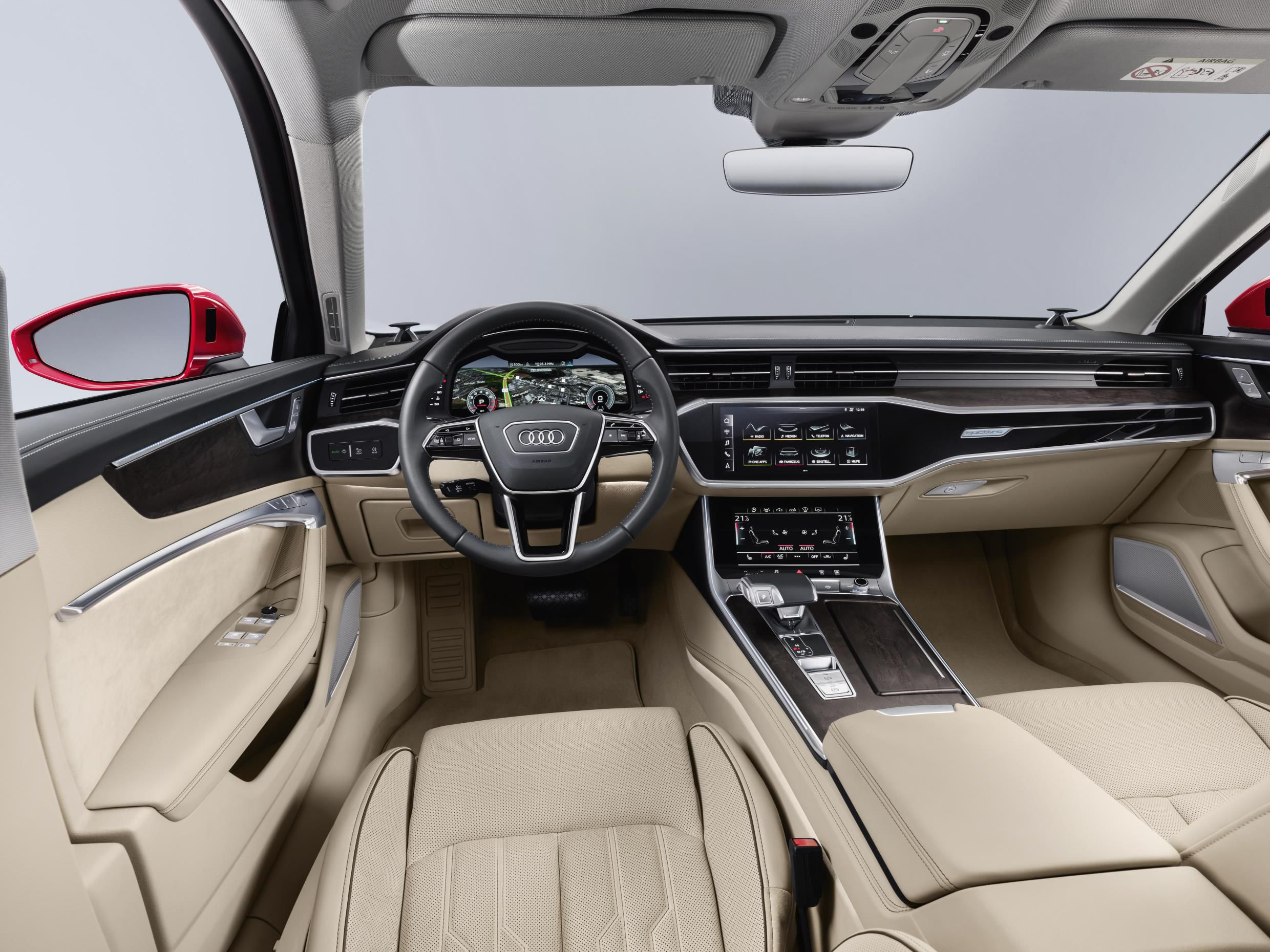 Cream leather interior of red Audi A6