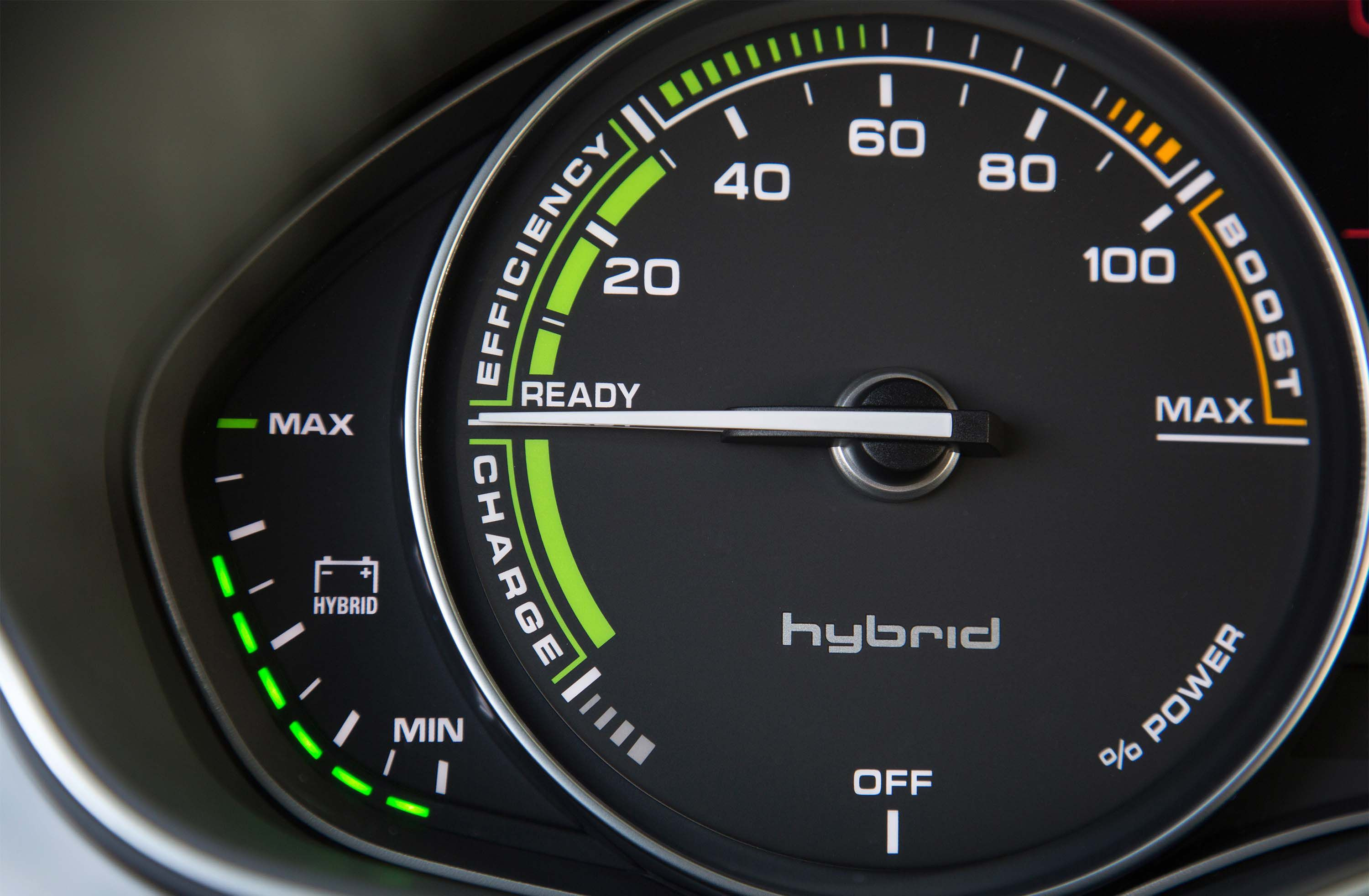Audi A7 h-tron charge efficiency meter