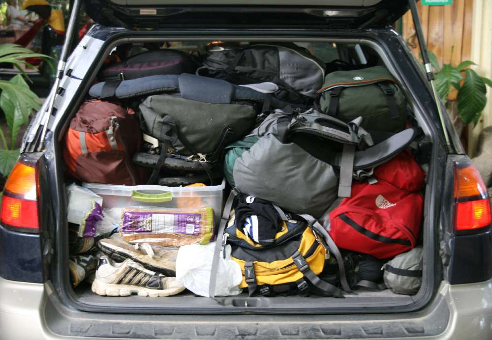 Hatchback boot filled to the brim with stuff