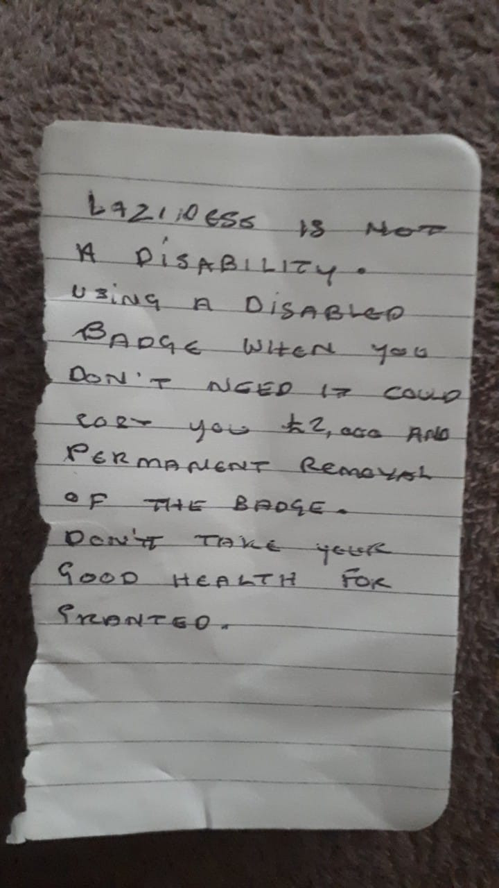 Disabled Child's Mum Angered and Disgusted by 'Laziness' Note on Car