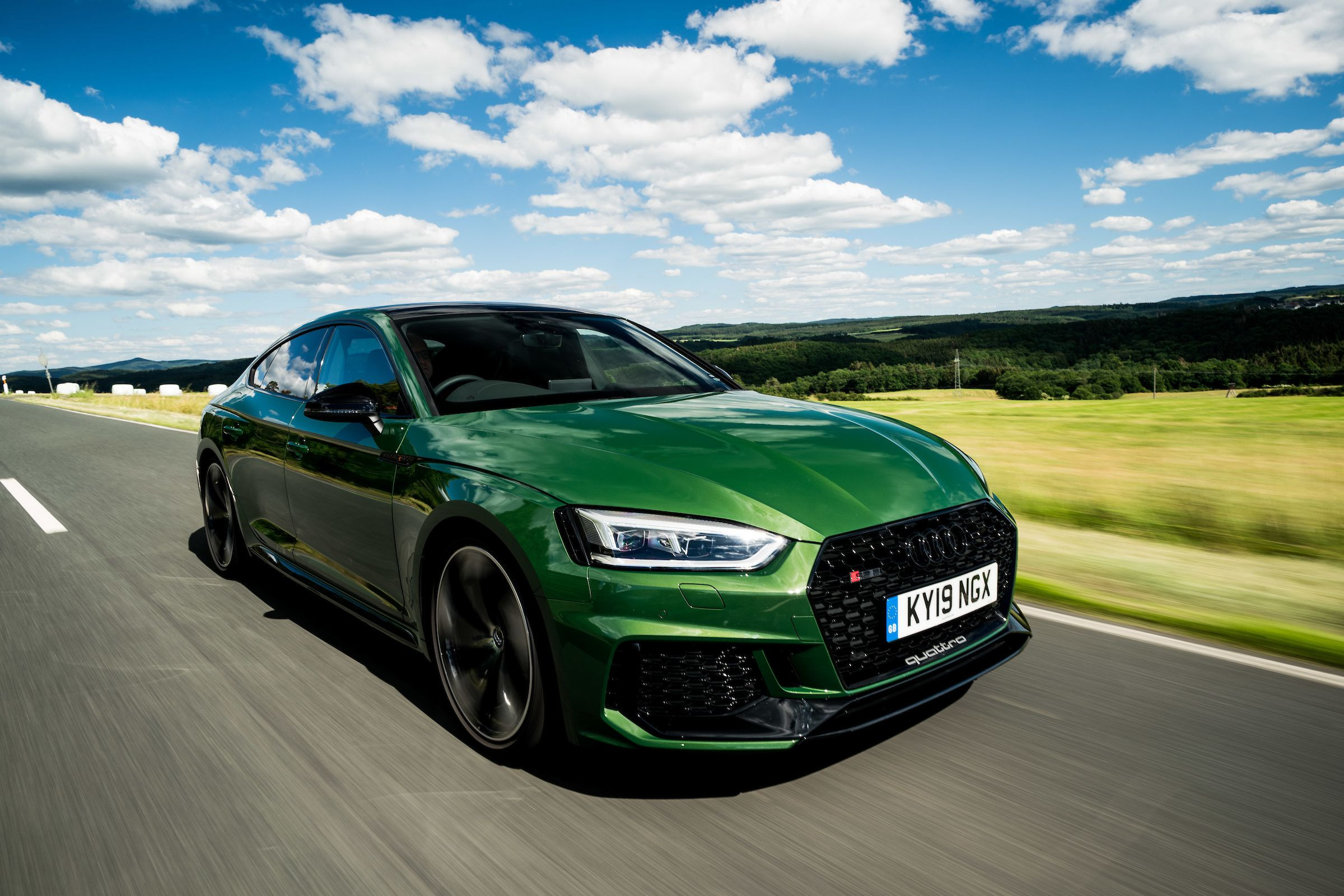 Front view of a green Audi RS5 Sportback