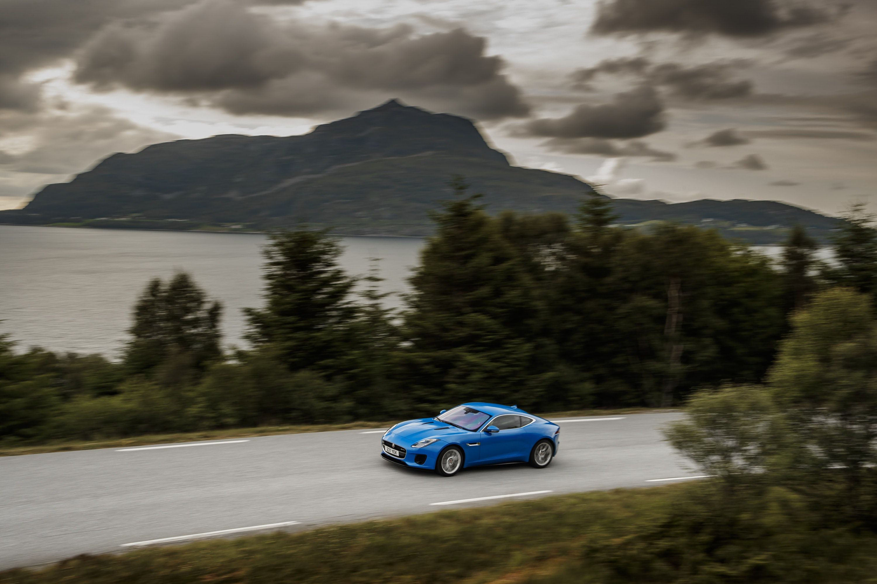 Jaguar F-type driving from afar