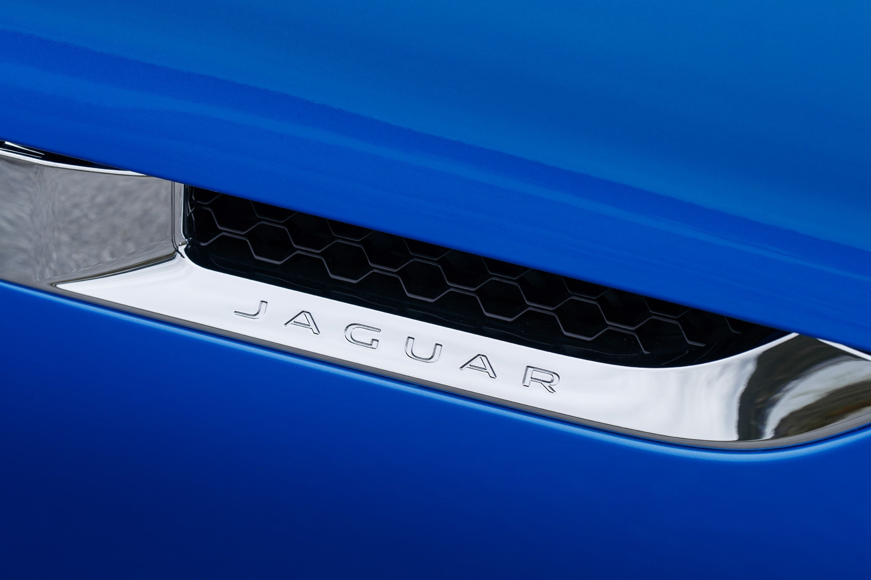 Jaguar F-type badge close-up