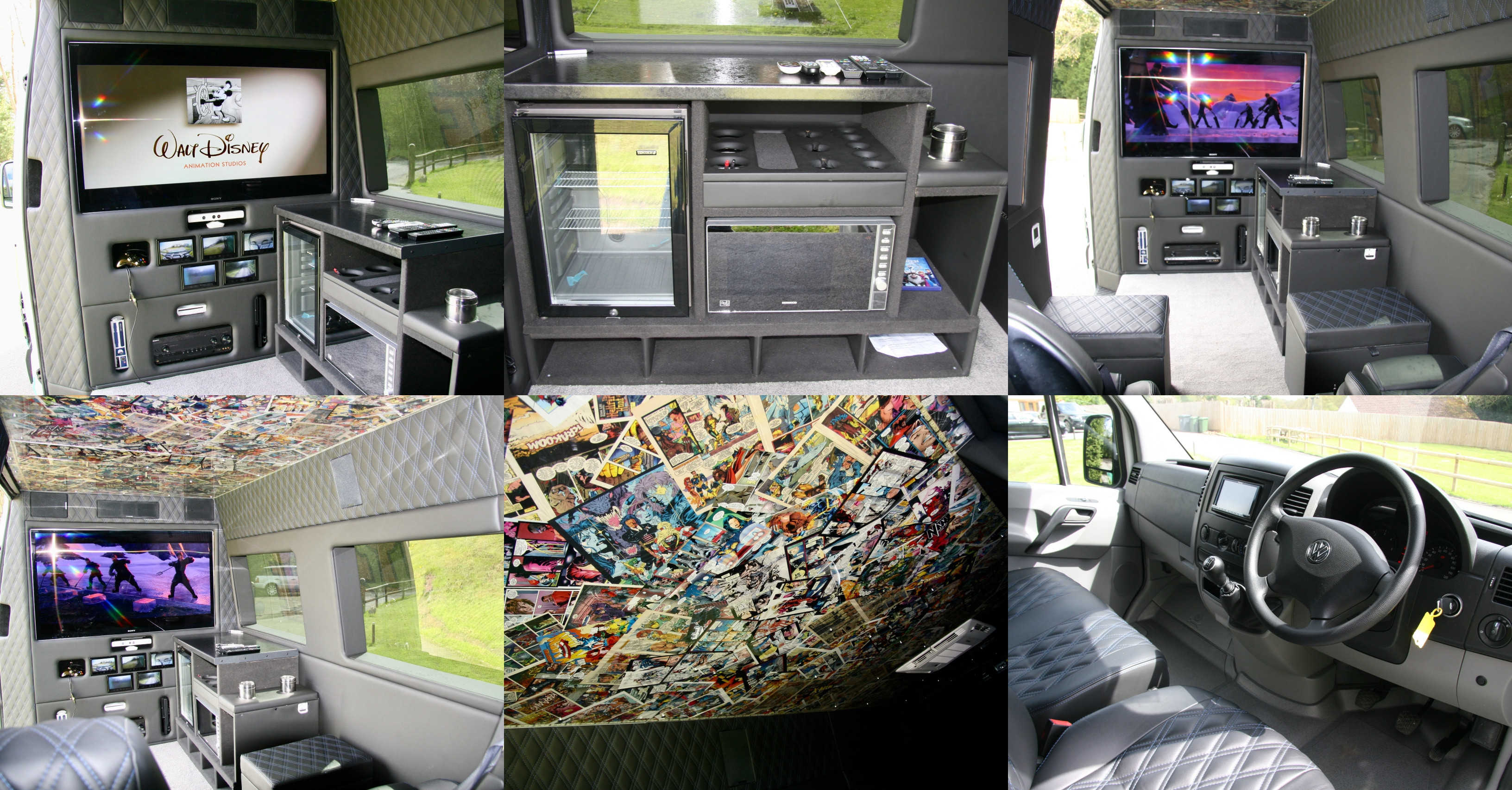 collage of interior of One Directions tour van
