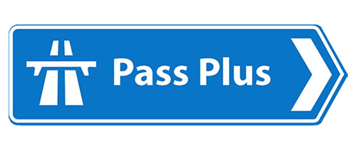 Pass plus on road sign