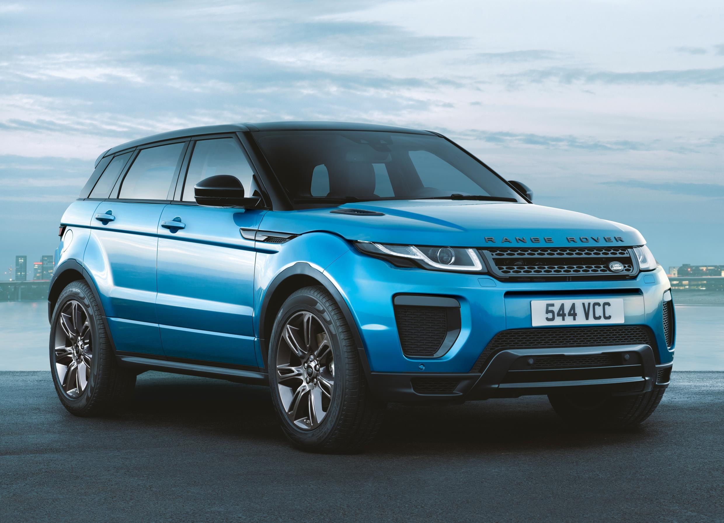 Bright blue metallic Range Rover Evoque