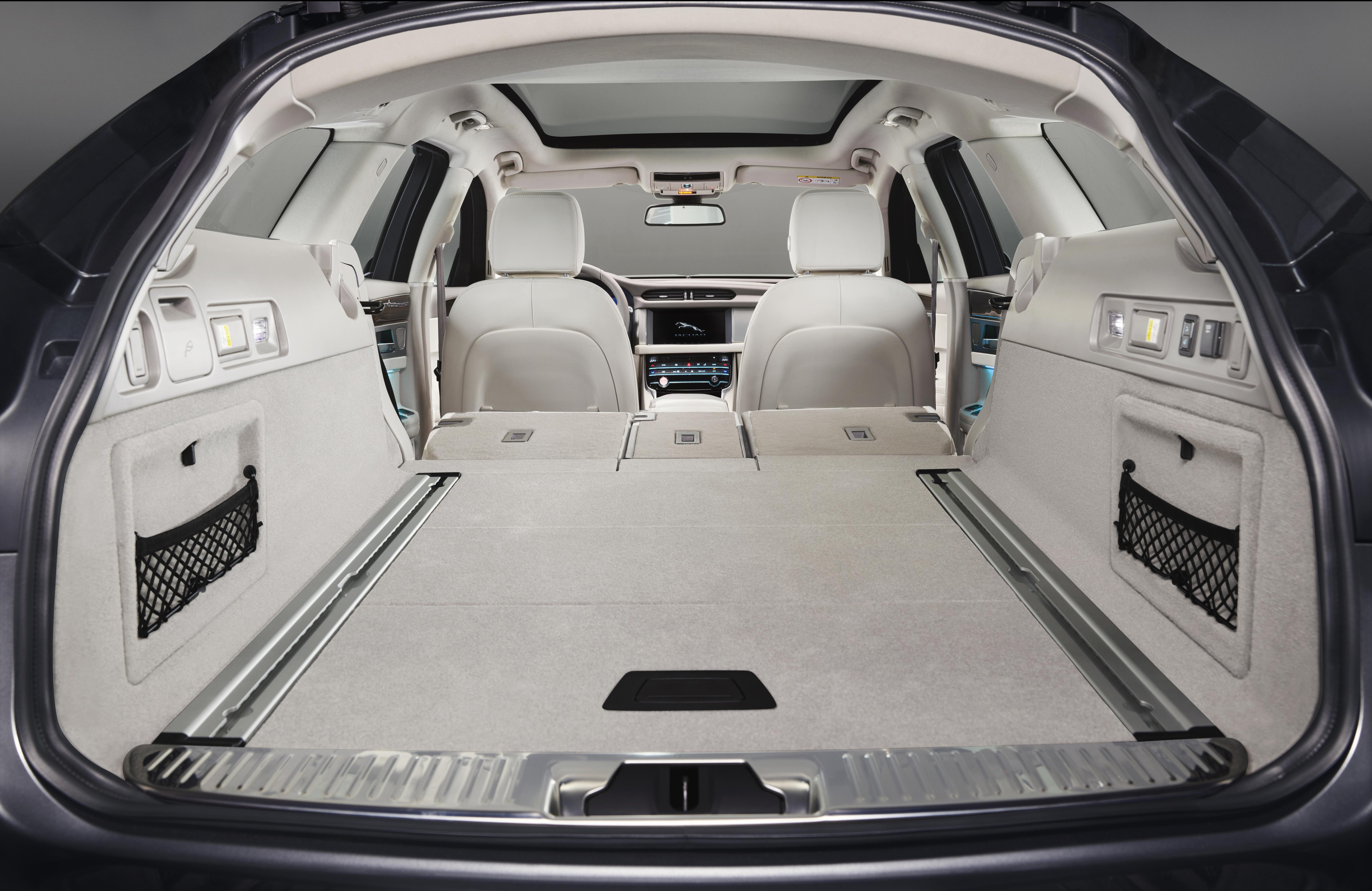 Rear load space of Jaguar XF sportbrake with the seats down flat