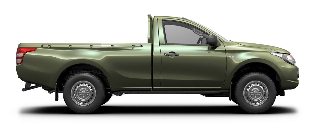 Green metallic single cab pick-up seen side on