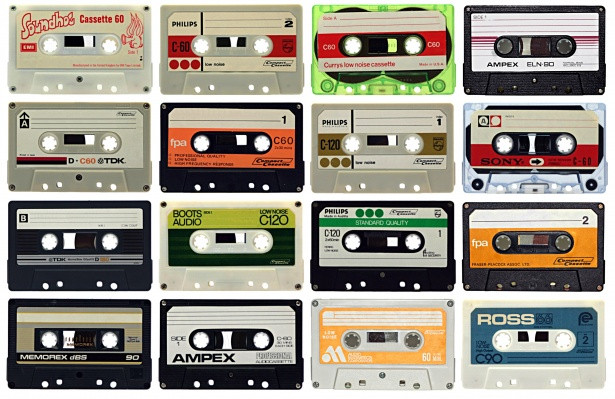 16 music cassettes laid out