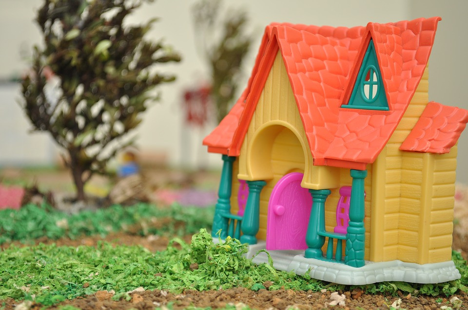 Colourful plastic toy house
