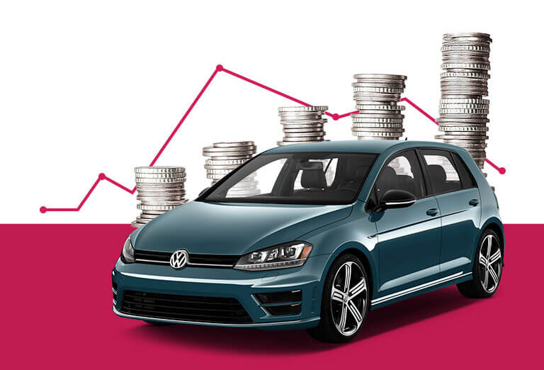 Picture of Volkswagen Car and stacked coins